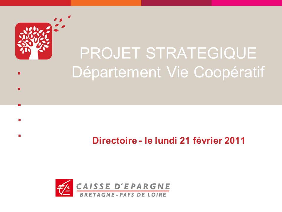 PROJET STRATEGIQUE Département Vie Coopératif Directoire - le lundi 21 février 2011