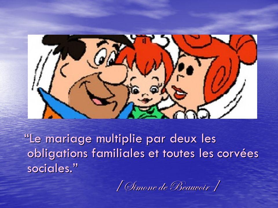 Le mariage multiplie par deux les obligations familiales et toutes les corvées sociales.Le mariage multiplie par deux les obligations familiales et to