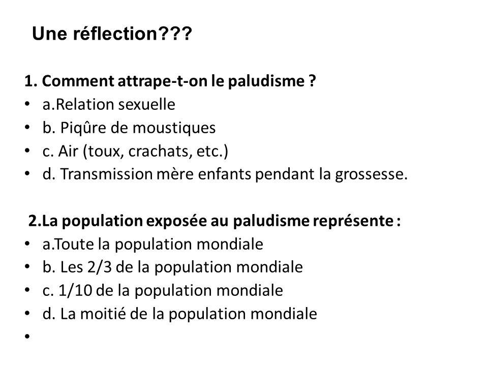 1. Comment attrape-t-on le paludisme ? a.Relation sexuelle b. Piqûre de moustiques c. Air (toux, crachats, etc.) d. Transmission mère enfants pendant