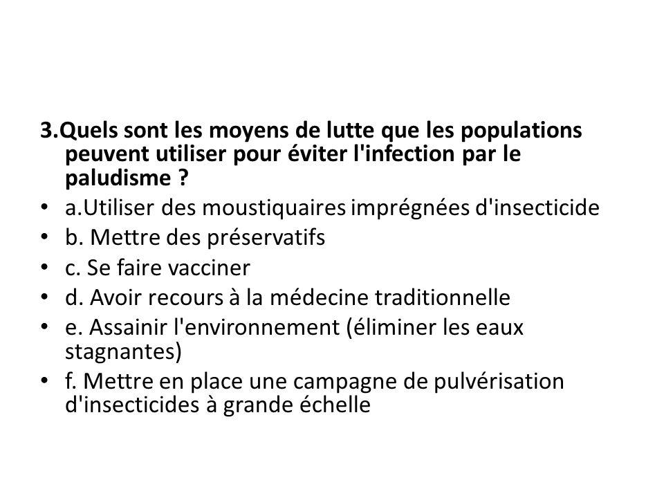 3.Quels sont les moyens de lutte que les populations peuvent utiliser pour éviter l'infection par le paludisme ? a.Utiliser des moustiquaires imprégné