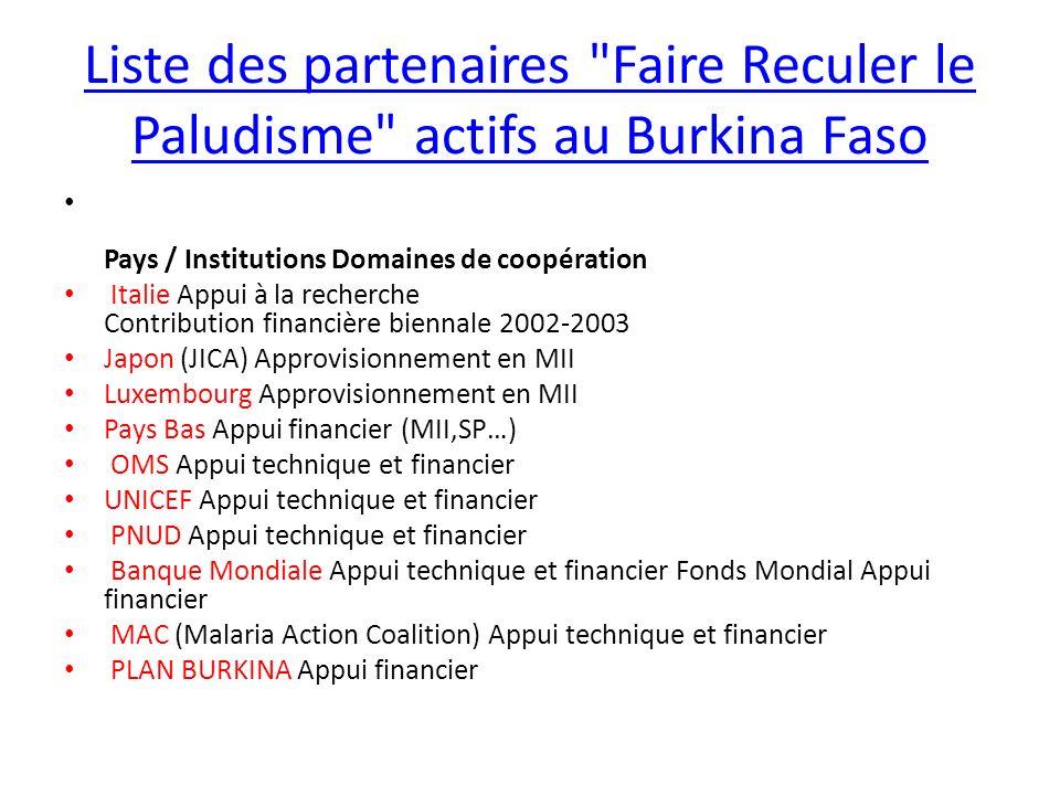 Liste des partenaires