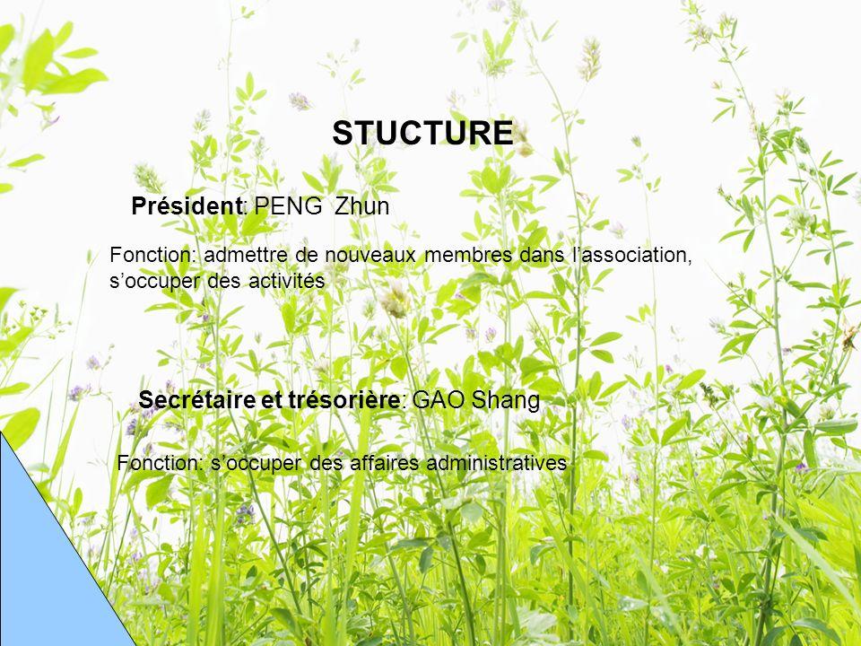 STUCTURE Président: PENG Zhun Secrétaire et trésorière: GAO Shang Fonction: admettre de nouveaux membres dans lassociation, soccuper des activités Fonction: soccuper des affaires administratives