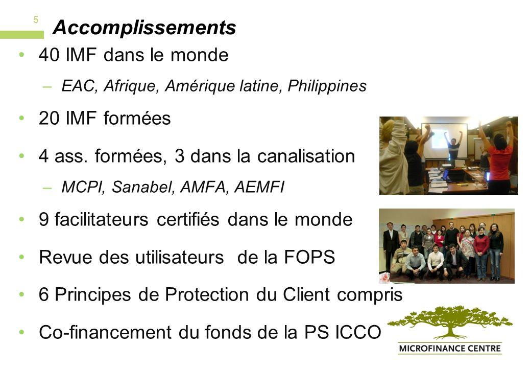 Plans Mise au point de la protection du client et de son genre Transfert vers plusieurs réseaux Co-financement Certification 6