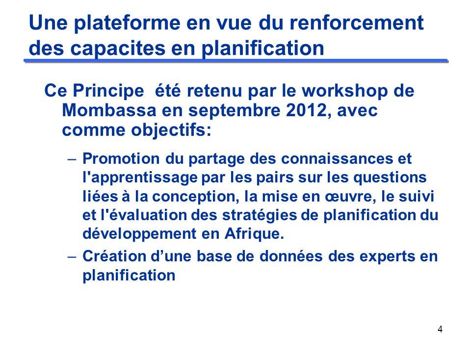 Lancement de la plateforme Lancée à Abidjan le 24 Mars 2013, en marge de la 6ème Conférence des ministres, la plateforme va interagir a 2 niveaux: –Virtuel, a travers une plateforme électronique qui peut être consultée à l adresse suivante: http://knowledge.africa-devnet.org/group/ndp.