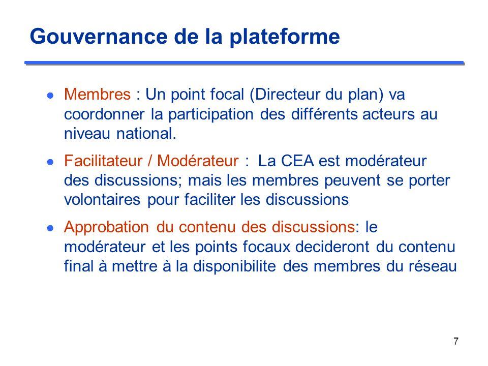 Gouvernance de la plateforme Membres : Un point focal (Directeur du plan) va coordonner la participation des différents acteurs au niveau national.