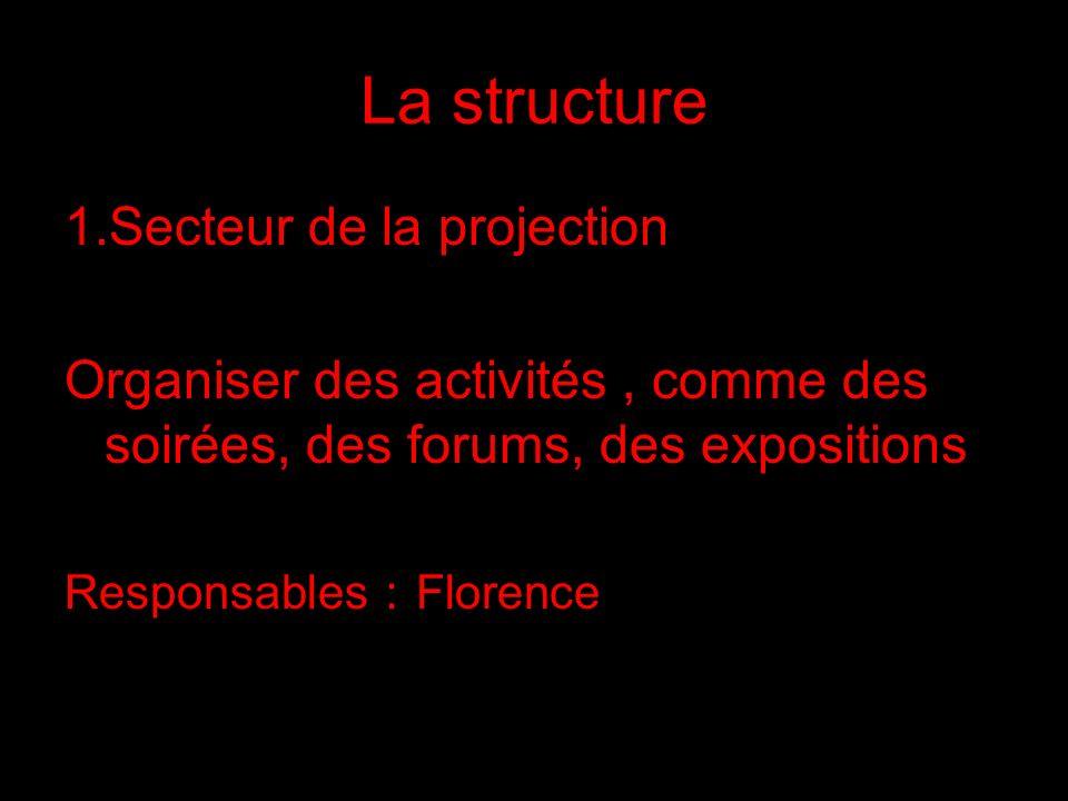 La structure 1.Secteur de la projection Organiser des activités, comme des soirées, des forums, des expositions Responsables Florence