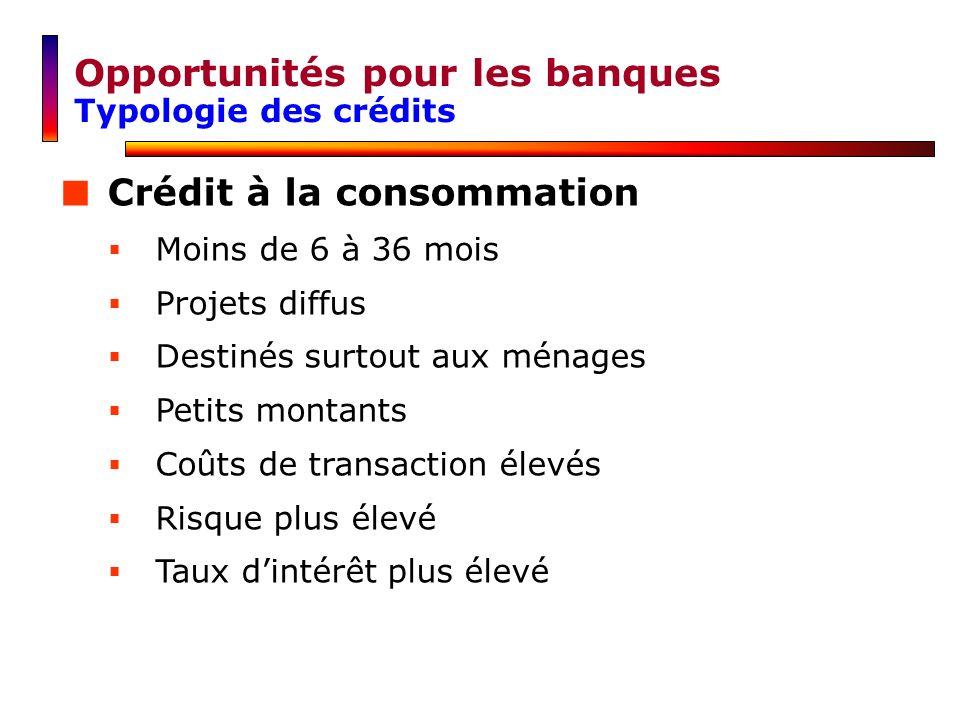 Opportunités pour les banques Typologie des crédits Crédit à la consommation Moins de 6 à 36 mois Projets diffus Destinés surtout aux ménages Petits m