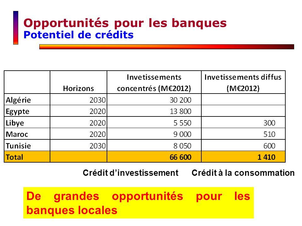 De grandes opportunités pour les banques locales Crédit à la consommationCrédit dinvestissement Opportunités pour les banques Potentiel de crédits