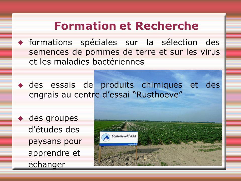 Formation et Recherche formations spéciales sur la sélection des semences de pommes de terre et sur les virus et les maladies bactériennes des essais