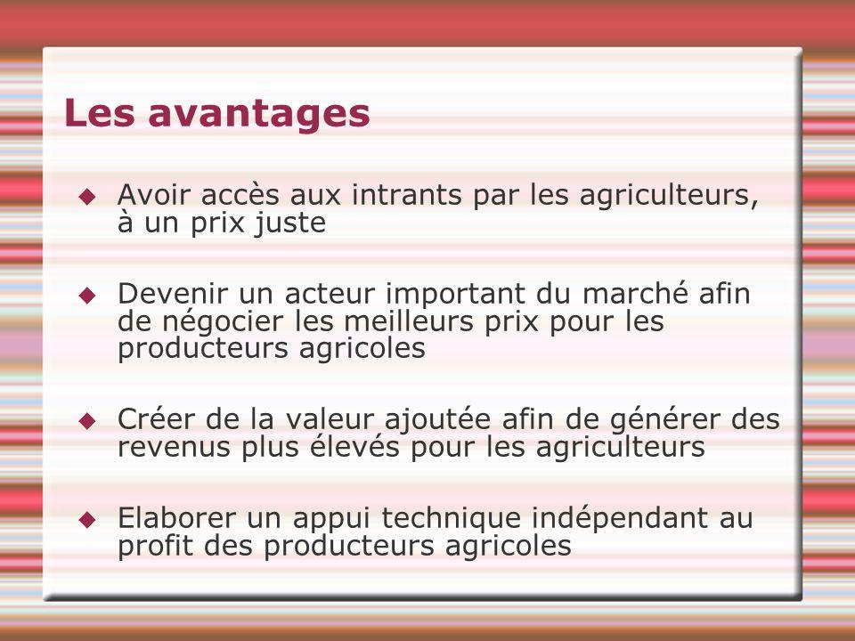 Les avantages Avoir accès aux intrants par les agriculteurs, à un prix juste Devenir un acteur important du marché afin de négocier les meilleurs prix pour les producteurs agricoles Créer de la valeur ajoutée afin de générer des revenus plus élevés pour les agriculteurs Elaborer un appui technique indépendant au profit des producteurs agricoles