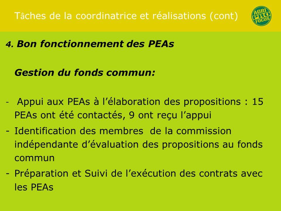 T â ches de la coordinatrice et réalisations (cont) 4.