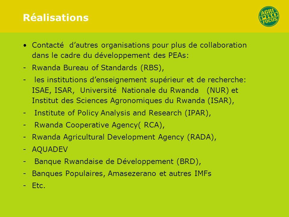 Réalisations Contacté dautres organisations pour plus de collaboration dans le cadre du développement des PEAs: -Rwanda Bureau of Standards (RBS), - les institutions denseignement supérieur et de recherche: ISAE, ISAR, Université Nationale du Rwanda (NUR) et Institut des Sciences Agronomiques du Rwanda (ISAR), - Institute of Policy Analysis and Research (IPAR), - Rwanda Cooperative Agency( RCA), -Rwanda Agricultural Development Agency (RADA), -AQUADEV - Banque Rwandaise de Développement (BRD), -Banques Populaires, Amasezerano et autres IMFs -Etc.
