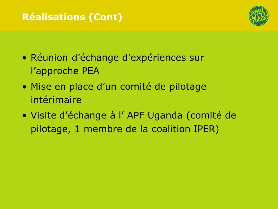 Réalisations (Cont) Réunion déchange dexpériences sur lapproche PEA Mise en place dun comité de pilotage intérimaire Visite déchange à l APF Uganda (comité de pilotage, 1 membre de la coalition IPER)