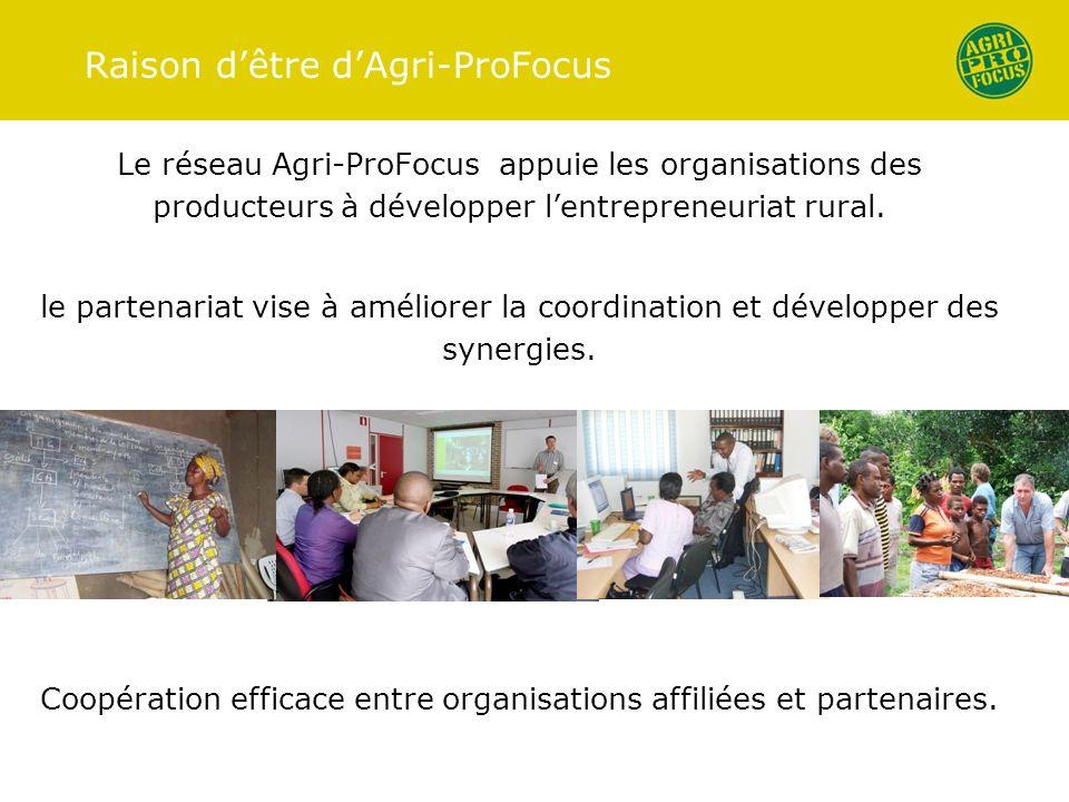 Raison dêtre dAgri-ProFocus Le réseau Agri-ProFocus appuie les organisations des producteurs à développer lentrepreneuriat rural. le partenariat vise