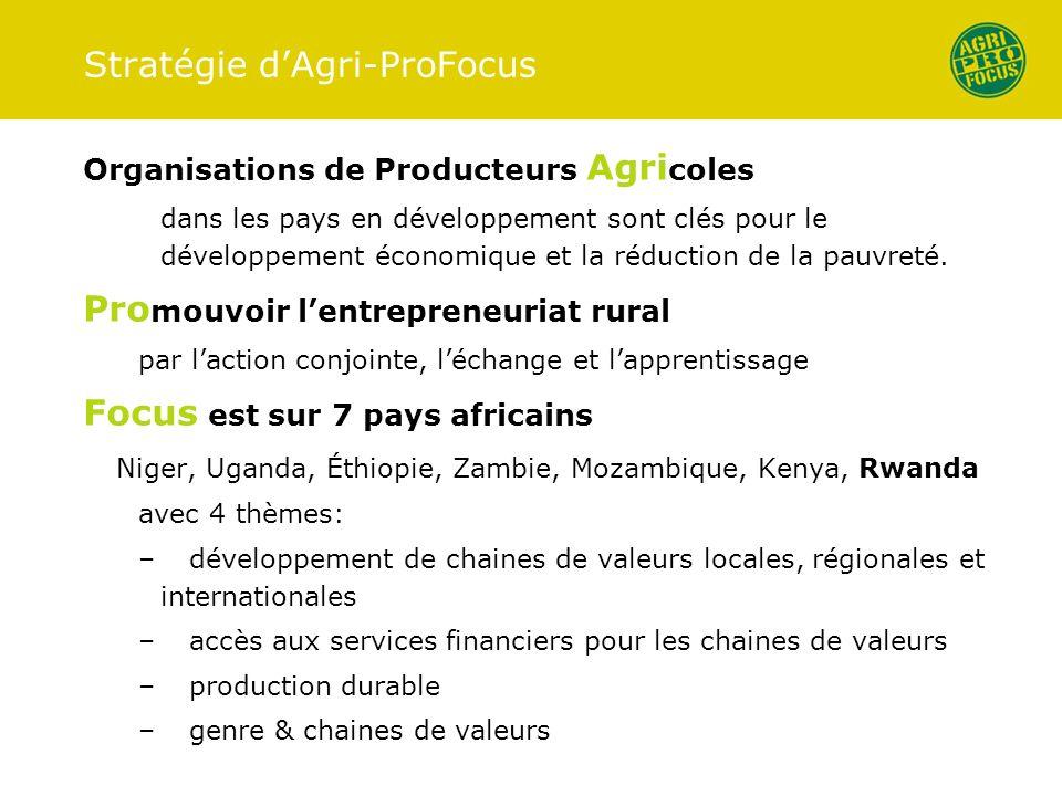 Stratégie dAgri-ProFocus Organisations de Producteurs Agri coles dans les pays en développement sont clés pour le développement économique et la réduc