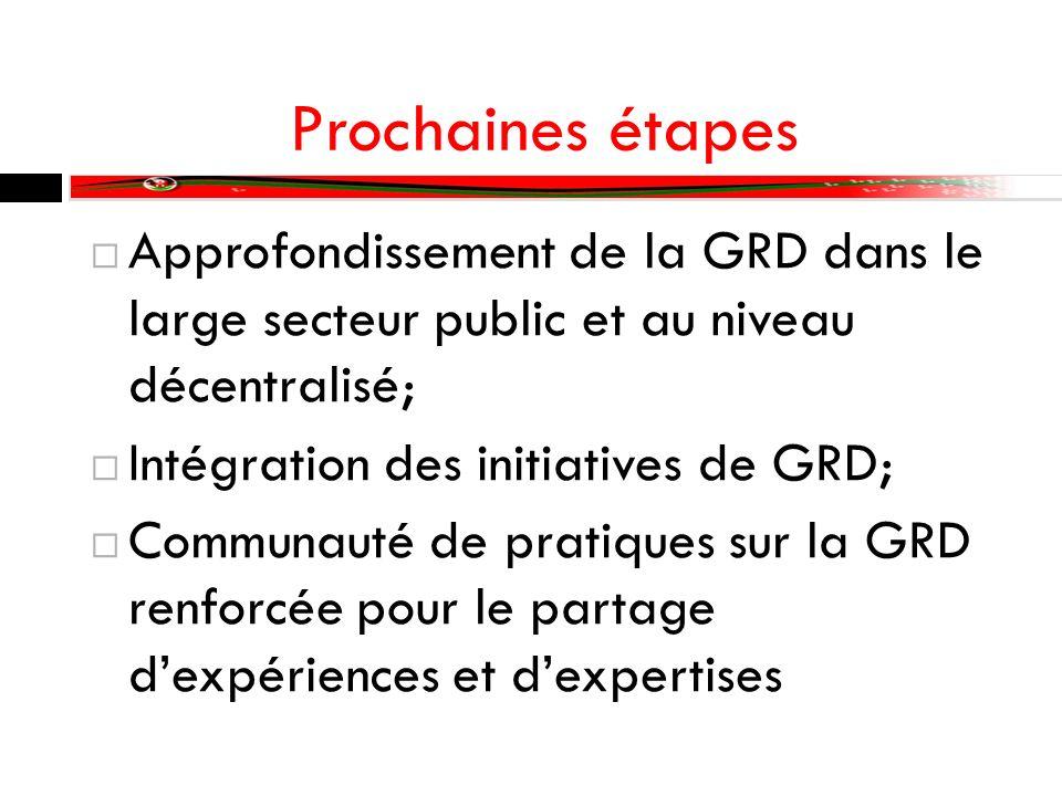 Prochaines étapes Approfondissement de la GRD dans le large secteur public et au niveau décentralisé; Intégration des initiatives de GRD; Communauté de pratiques sur la GRD renforcée pour le partage dexpériences et dexpertises