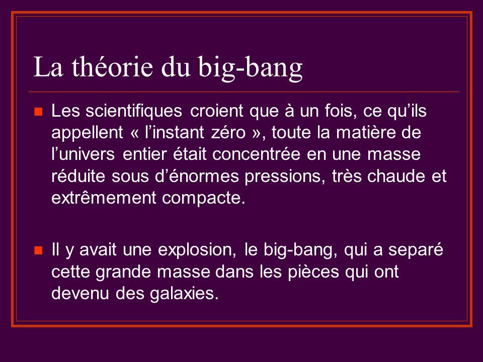 La théorie du big-bang Les scientifiques croient que à un fois, ce quils appellent « linstant zéro », toute la matière de lunivers entier était concen
