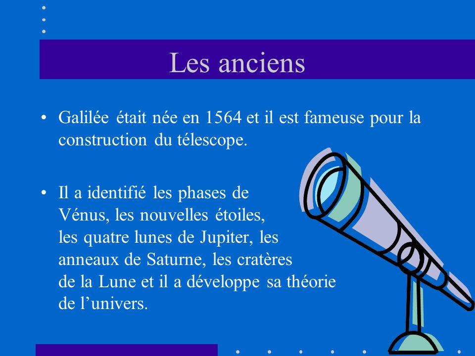 Les anciens Galilée était née en 1564 et il est fameuse pour la construction du télescope. Il a identifié les phases de Vénus, les nouvelles étoiles,