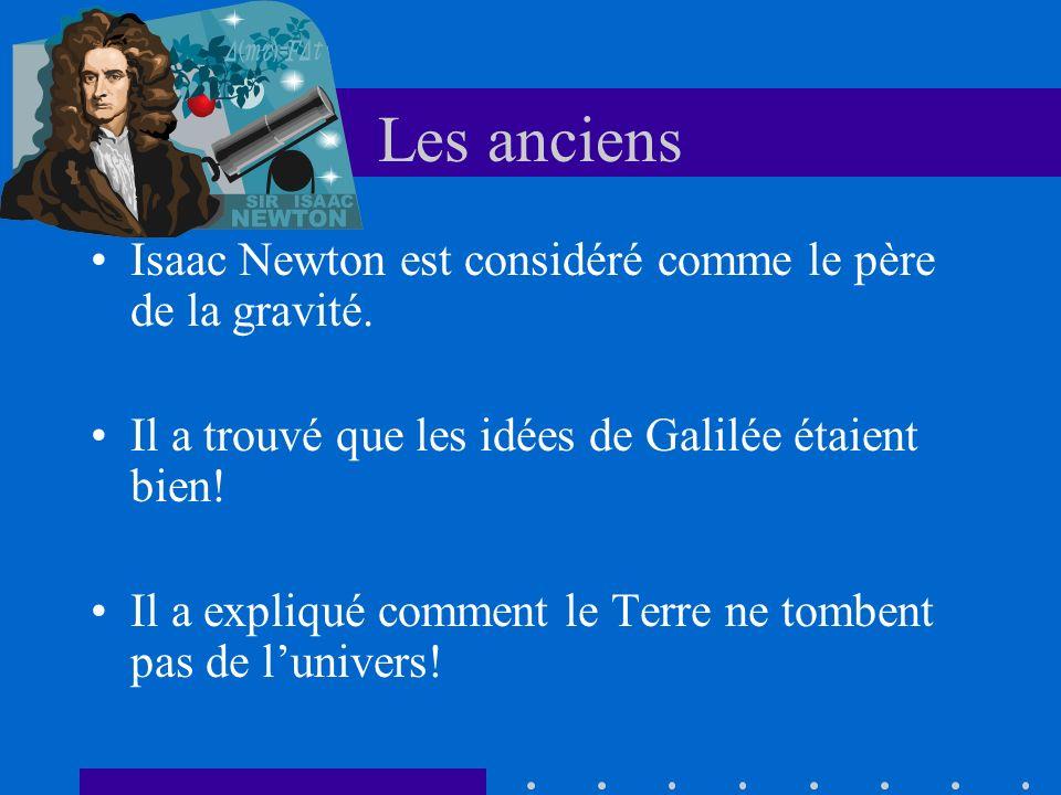 Les anciens Isaac Newton est considéré comme le père de la gravité. Il a trouvé que les idées de Galilée étaient bien! Il a expliqué comment le Terre