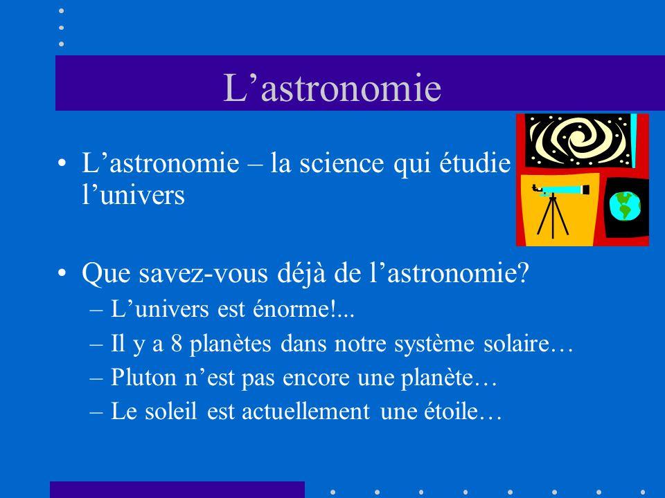 Lastronomie – la science qui étudie lunivers Que savez-vous déjà de lastronomie? –Lunivers est énorme!... –Il y a 8 planètes dans notre système solair