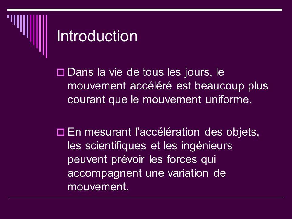 Introduction Dans la vie de tous les jours, le mouvement accéléré est beaucoup plus courant que le mouvement uniforme. En mesurant laccélération des o