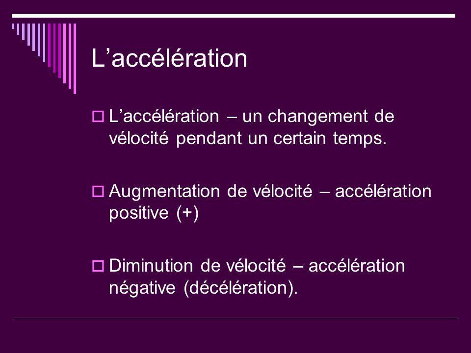 Laccélération Laccélération – un changement de vélocité pendant un certain temps. Augmentation de vélocité – accélération positive (+) Diminution de v