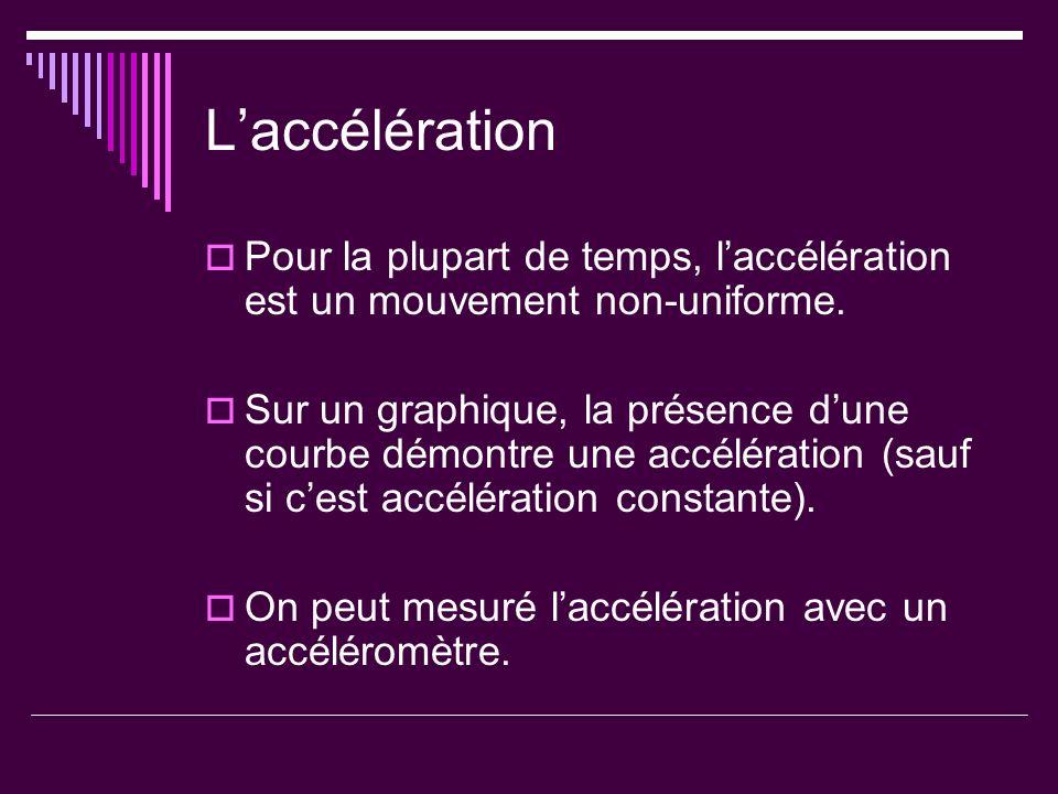 Laccélération Pour la plupart de temps, laccélération est un mouvement non-uniforme. Sur un graphique, la présence dune courbe démontre une accélérati