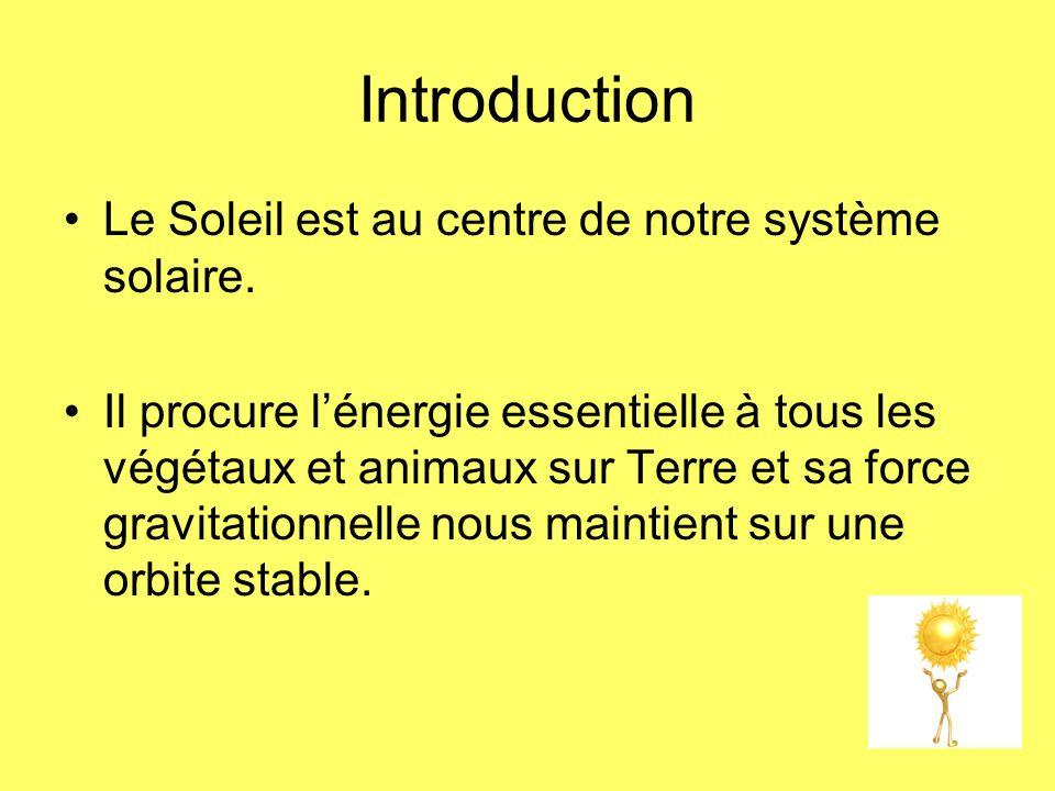 Introduction Le Soleil est au centre de notre système solaire. Il procure lénergie essentielle à tous les végétaux et animaux sur Terre et sa force gr