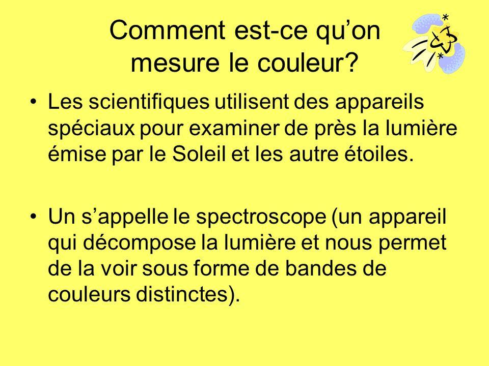 Comment est-ce quon mesure le couleur? Les scientifiques utilisent des appareils spéciaux pour examiner de près la lumière émise par le Soleil et les