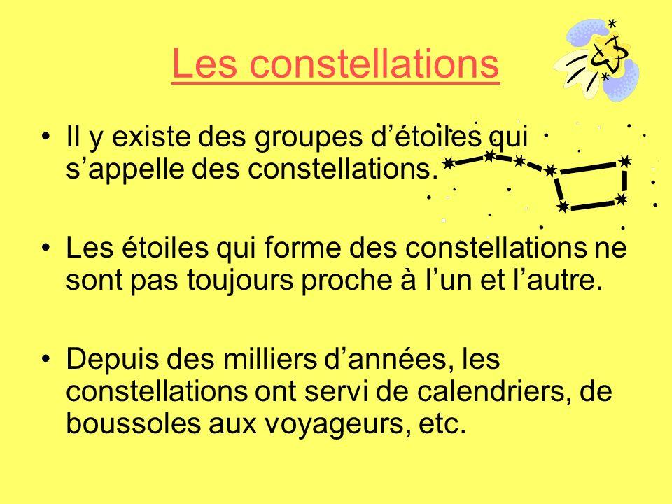 Les constellations Il y existe des groupes détoiles qui sappelle des constellations. Les étoiles qui forme des constellations ne sont pas toujours pro