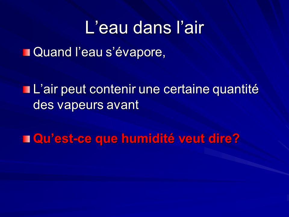Lhumidité Lhumidité est Lhumidité relative – Quand lair contient la quantité maximale de vapeur deau,.