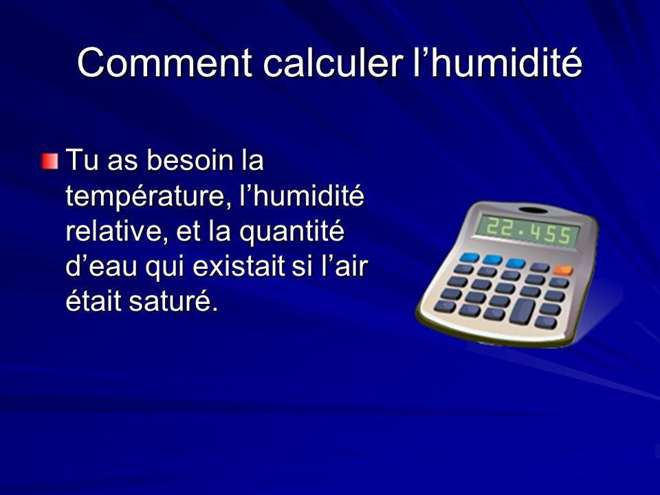 Calculer humidité (exemple) La température extérieur est de – 12 ºC et lhumidité relative est 75%.