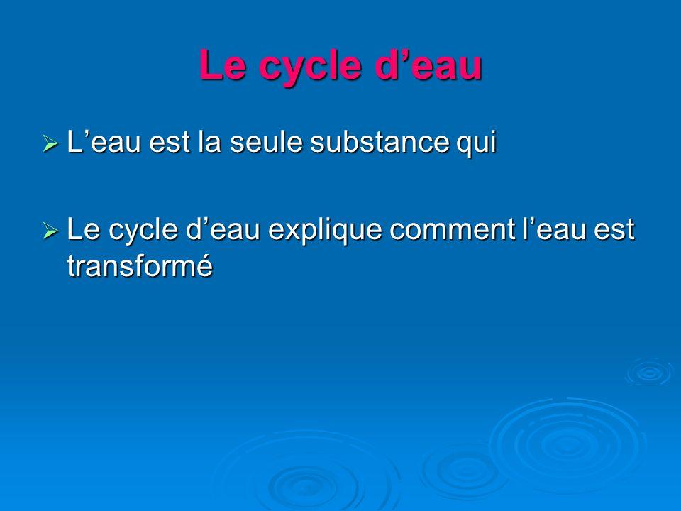 Leau est la seule substance qui Leau est la seule substance qui Le cycle deau explique comment leau est transformé Le cycle deau explique comment leau est transformé