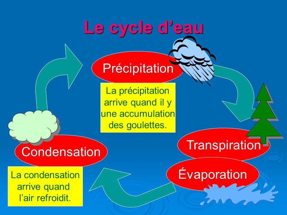 Le cycle deau Condensation Transpiration Évaporation Précipitation La condensation arrive quand lair refroidit. La précipitation arrive quand il y une