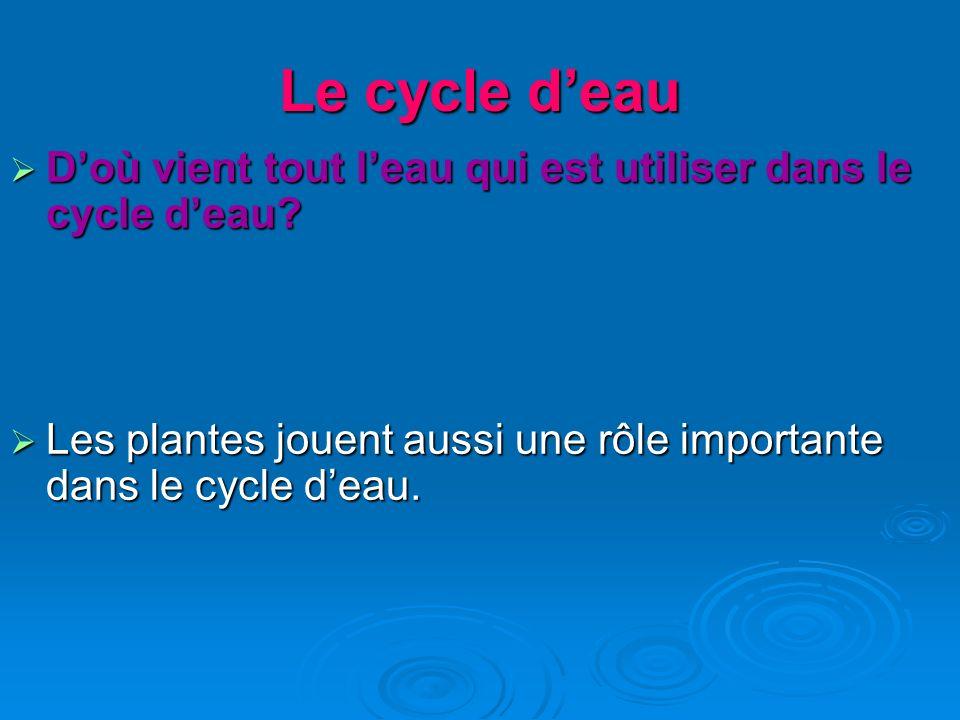 Le cycle deau Doù vient tout leau qui est utiliser dans le cycle deau? Doù vient tout leau qui est utiliser dans le cycle deau? Les plantes jouent aus