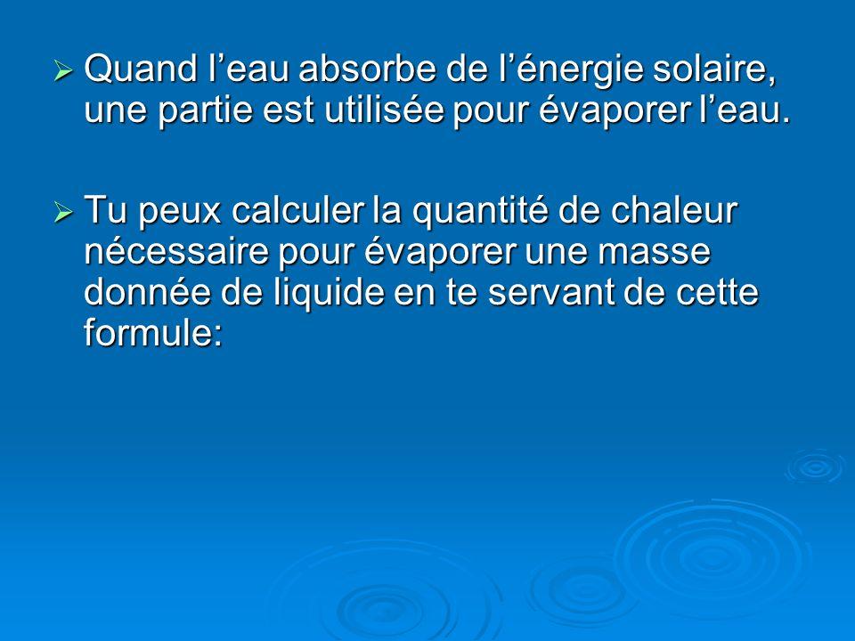 Quand leau absorbe de lénergie solaire, une partie est utilisée pour évaporer leau. Quand leau absorbe de lénergie solaire, une partie est utilisée po