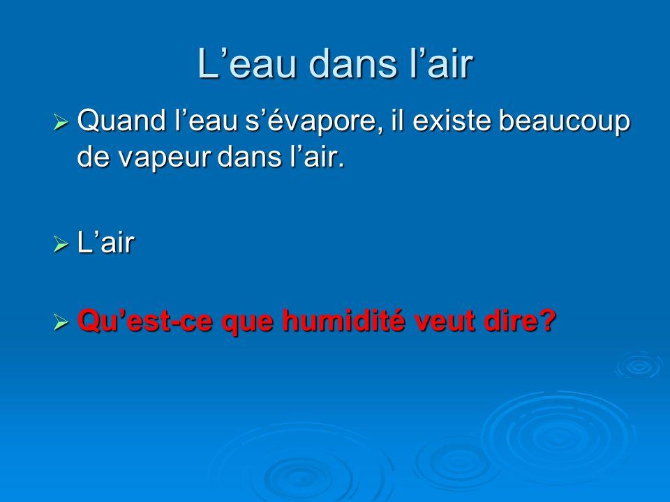 Leau dans lair Quand leau sévapore, il existe beaucoup de vapeur dans lair. Quand leau sévapore, il existe beaucoup de vapeur dans lair. Lair Lair Que