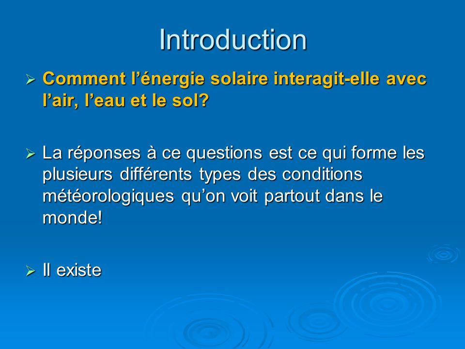 Introduction Comment lénergie solaire interagit-elle avec lair, leau et le sol? Comment lénergie solaire interagit-elle avec lair, leau et le sol? La