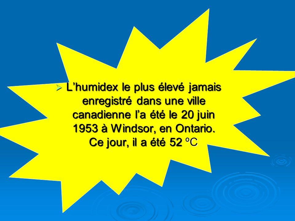 Lhumidex le plus élevé jamais enregistré dans une ville canadienne la été le 20 juin 1953 à Windsor, en Ontario. Ce jour, il a été 52 ºC Lhumidex le p