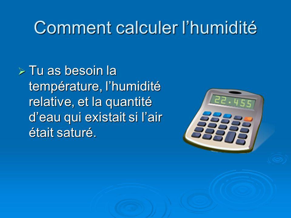 Comment calculer lhumidité Tu as besoin la température, lhumidité relative, et la quantité deau qui existait si lair était saturé. Tu as besoin la tem