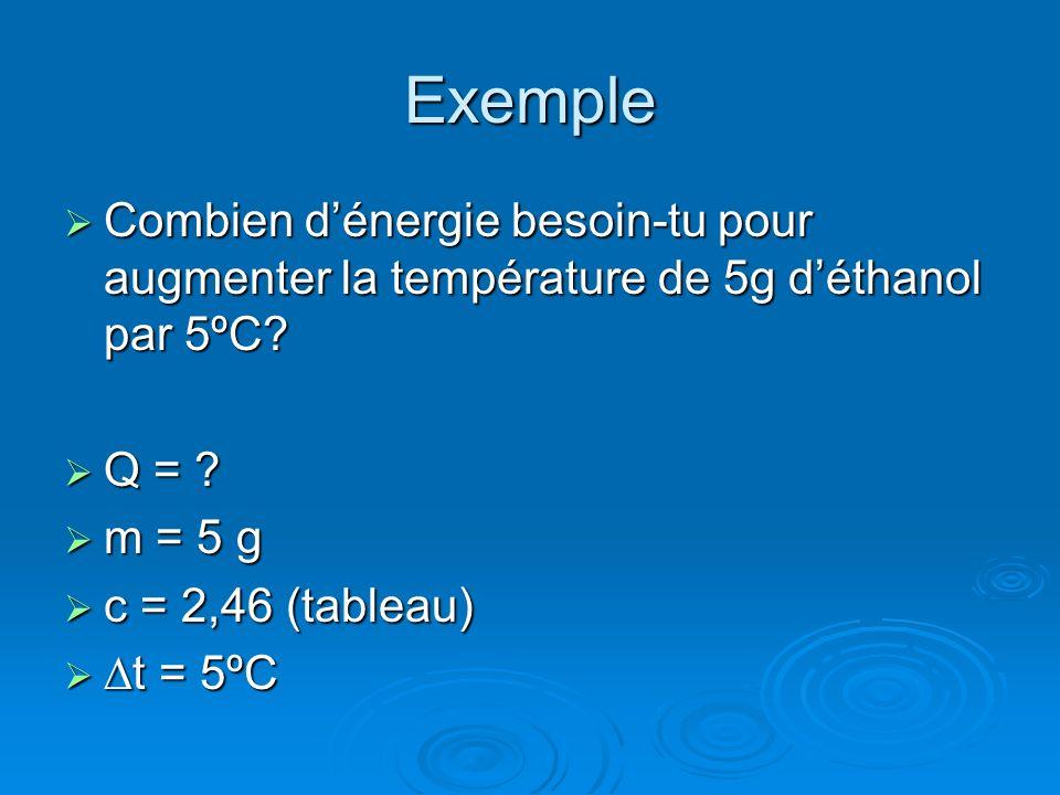 Exemple Combien dénergie besoin-tu pour augmenter la température de 5g déthanol par 5ºC? Combien dénergie besoin-tu pour augmenter la température de 5