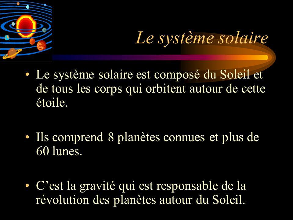 Le système solaire est composé du Soleil et de tous les corps qui orbitent autour de cette étoile. Ils comprend 8 planètes connues et plus de 60 lunes