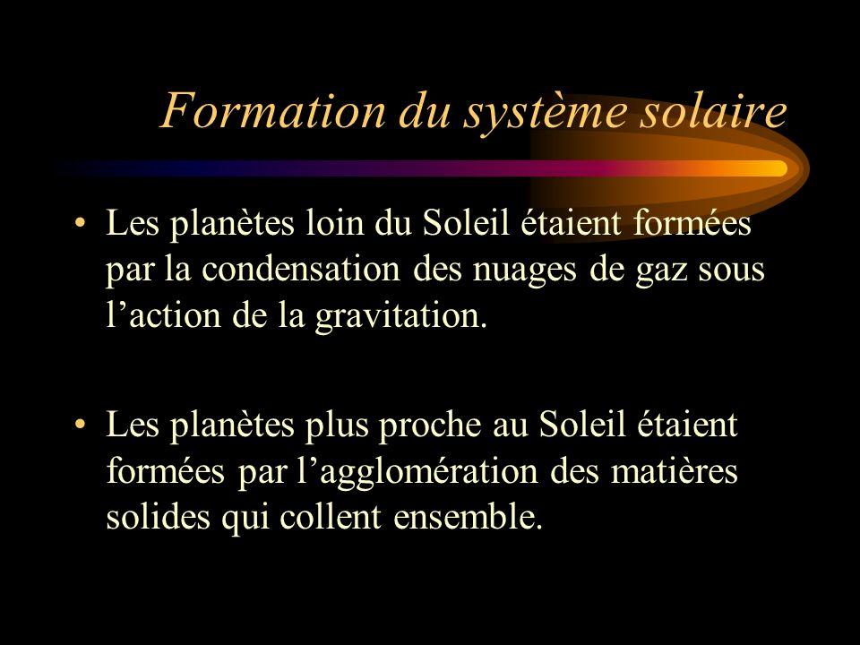 Formation du système solaire Les planètes loin du Soleil étaient formées par la condensation des nuages de gaz sous laction de la gravitation. Les pla