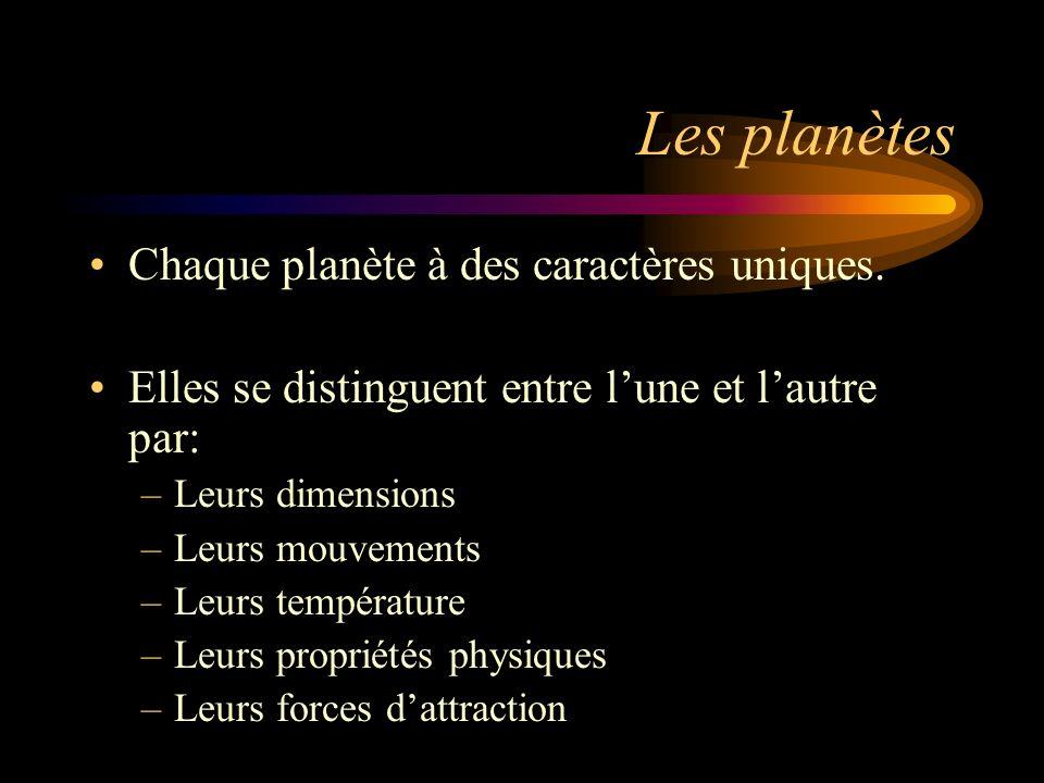Les planètes Chaque planète à des caractères uniques. Elles se distinguent entre lune et lautre par: –Leurs dimensions –Leurs mouvements –Leurs tempér