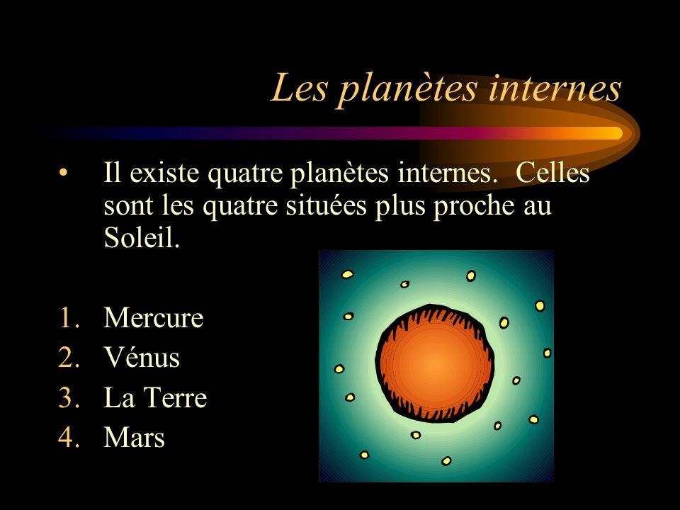 Les planètes internes Il existe quatre planètes internes. Celles sont les quatre situées plus proche au Soleil. 1.Mercure 2.Vénus 3.La Terre 4.Mars