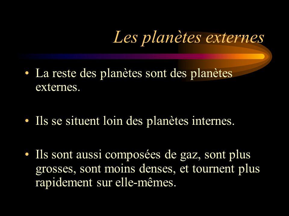Les planètes externes La reste des planètes sont des planètes externes. Ils se situent loin des planètes internes. Ils sont aussi composées de gaz, so