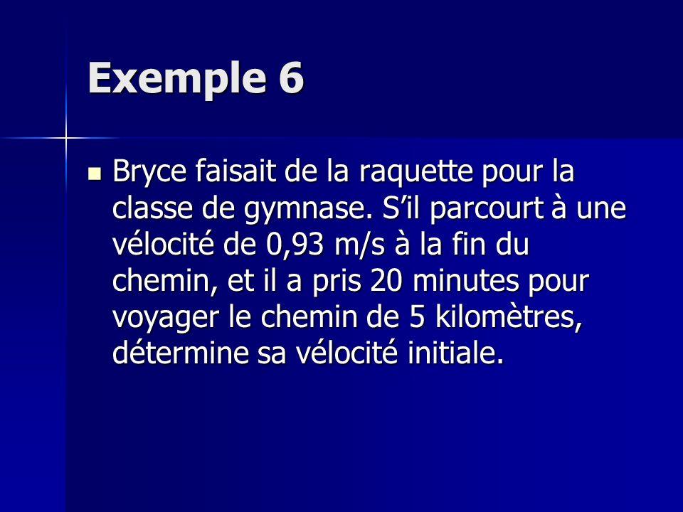 Exemple 6 Bryce faisait de la raquette pour la classe de gymnase. Sil parcourt à une vélocité de 0,93 m/s à la fin du chemin, et il a pris 20 minutes