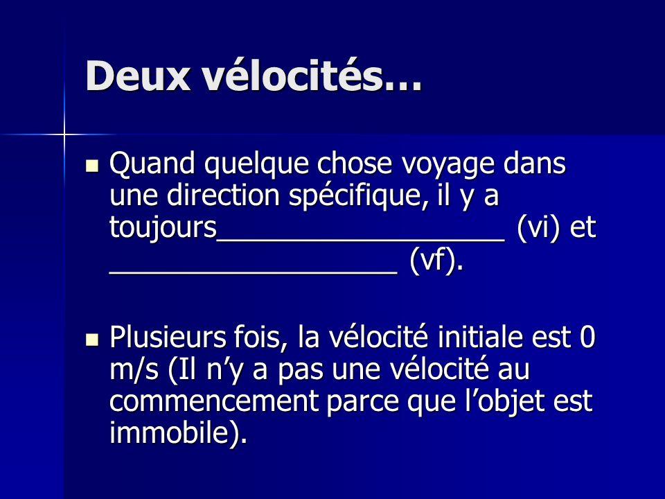 Deux vélocités Sil y a une changement entre la vélocité initiale et la vélocité finale on utilise cette formule: Sil y a une changement entre la vélocité initiale et la vélocité finale on utilise cette formule: