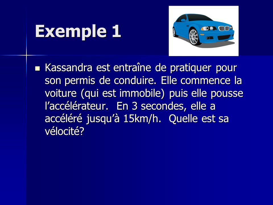 Exemple 1 Kassandra est entraîne de pratiquer pour son permis de conduire. Elle commence la voiture (qui est immobile) puis elle pousse laccélérateur.