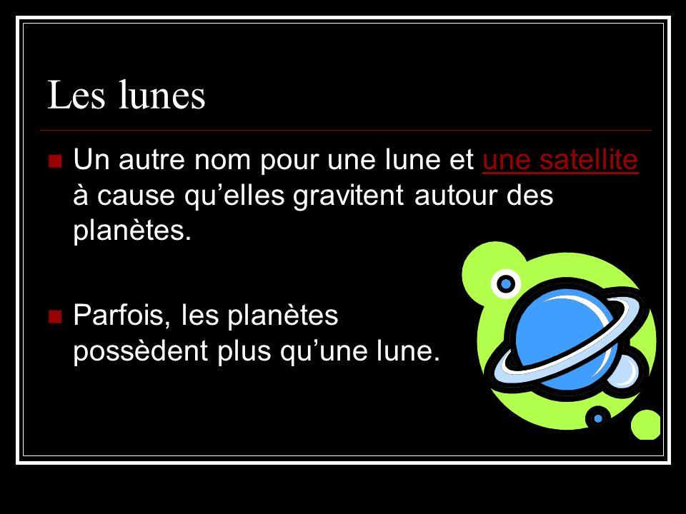 Les lunes Un autre nom pour une lune et une satellite à cause quelles gravitent autour des planètes.